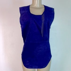 Tracy Reese Vintage Suede Top India Ink Blue Small